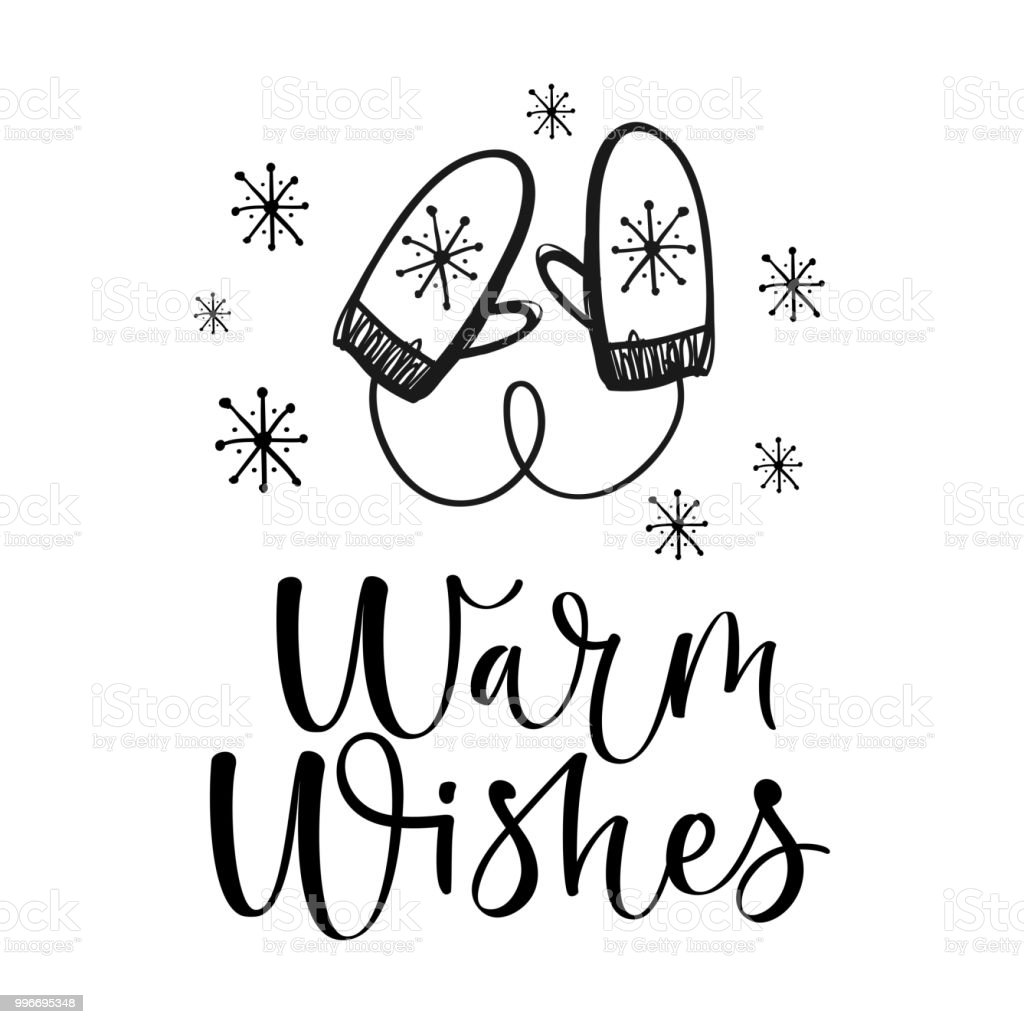 Warm wishes text. Christmas greeting card with brush calligraphy and hand drawn mittens. vector art illustration