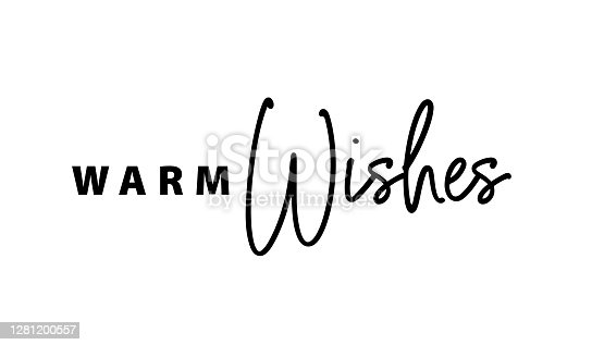 istock Warm wishes text typography. Design for holiday greeting cards 1281200557