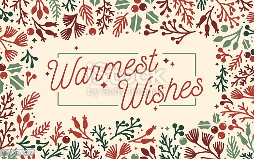 Warmest wishes traditional holiday greeting message seasonal berry leaves and branches frame design.