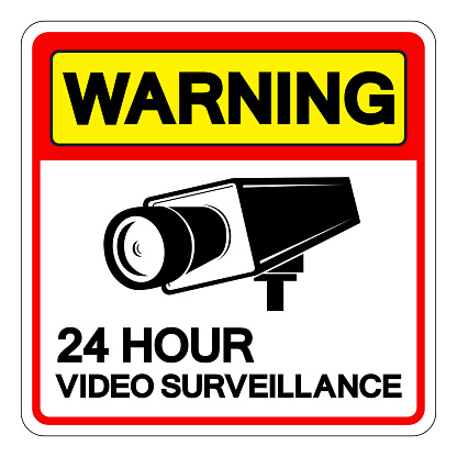 Warning 24 Hour Video Surveillance Symbol Sign, Vector Illustration, Isolate On White Background Label. EPS10