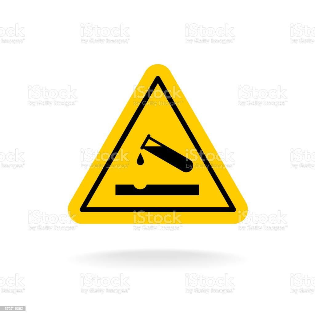 Warning acid sign. Triangle yellow chemistry sticker. Test tube vector art illustration