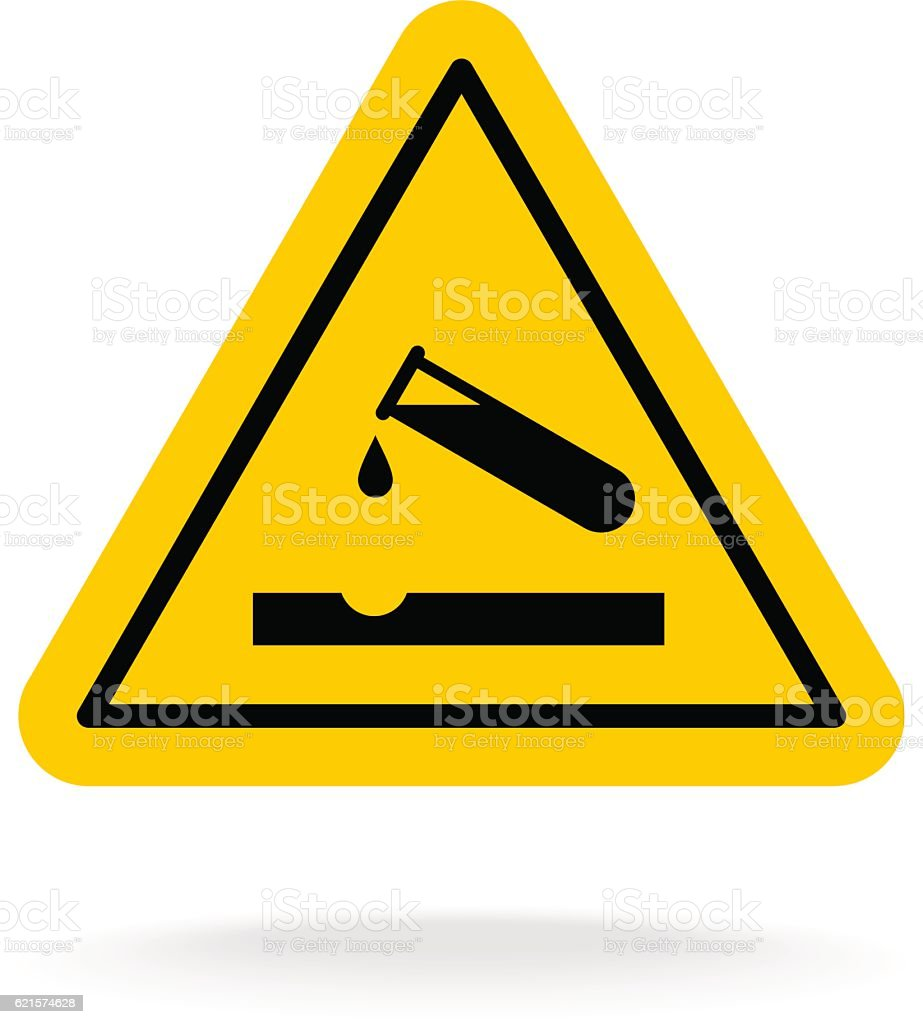 Warning acid sign. Triangle yellow chemistry sticker. vector art illustration