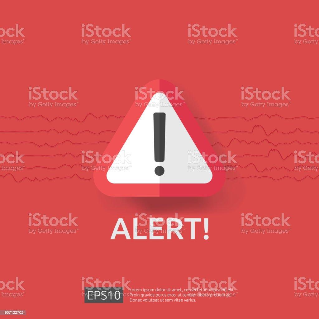 waarschuwing alarm bord met uitroepteken symbool. ramp aandacht bescherming pictogram concept vectorillustratie. - Royalty-free Aardbeving vectorkunst