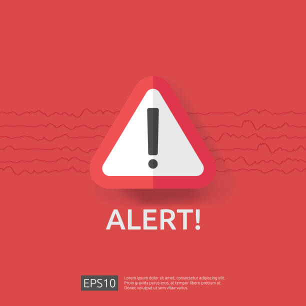 illustrations, cliparts, dessins animés et icônes de alerte alerte signe symbole de point d'exclamation. en cas de catastrophe attention protection icône concept vector illustration. - alarme