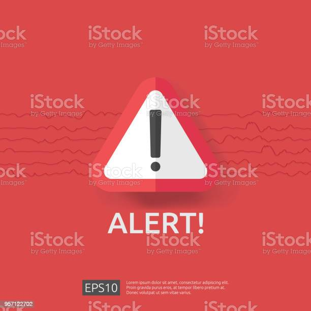 Waarschuwing Alarm Bord Met Uitroepteken Symbool Ramp Aandacht Bescherming Pictogram Concept Vectorillustratie Stockvectorkunst en meer beelden van Aardbeving