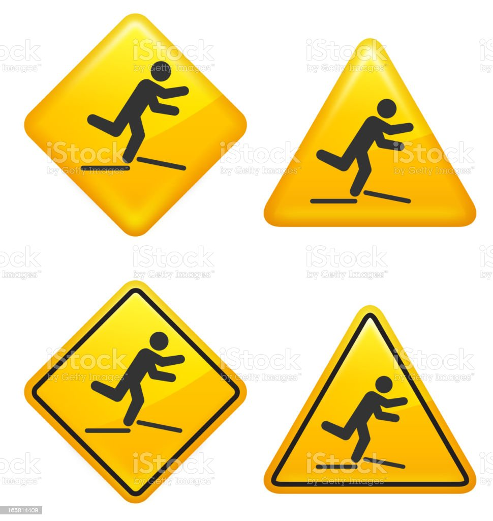 Warning and Caution Broken Pavement Street Signs royalty-free stock vector art
