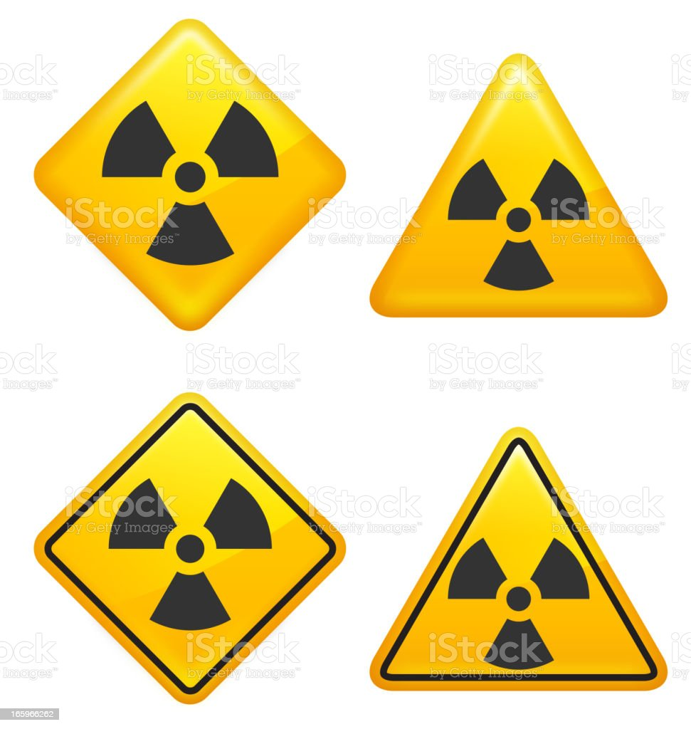 Warning and Caution Radioactive Street Signs royalty-free stock vector art
