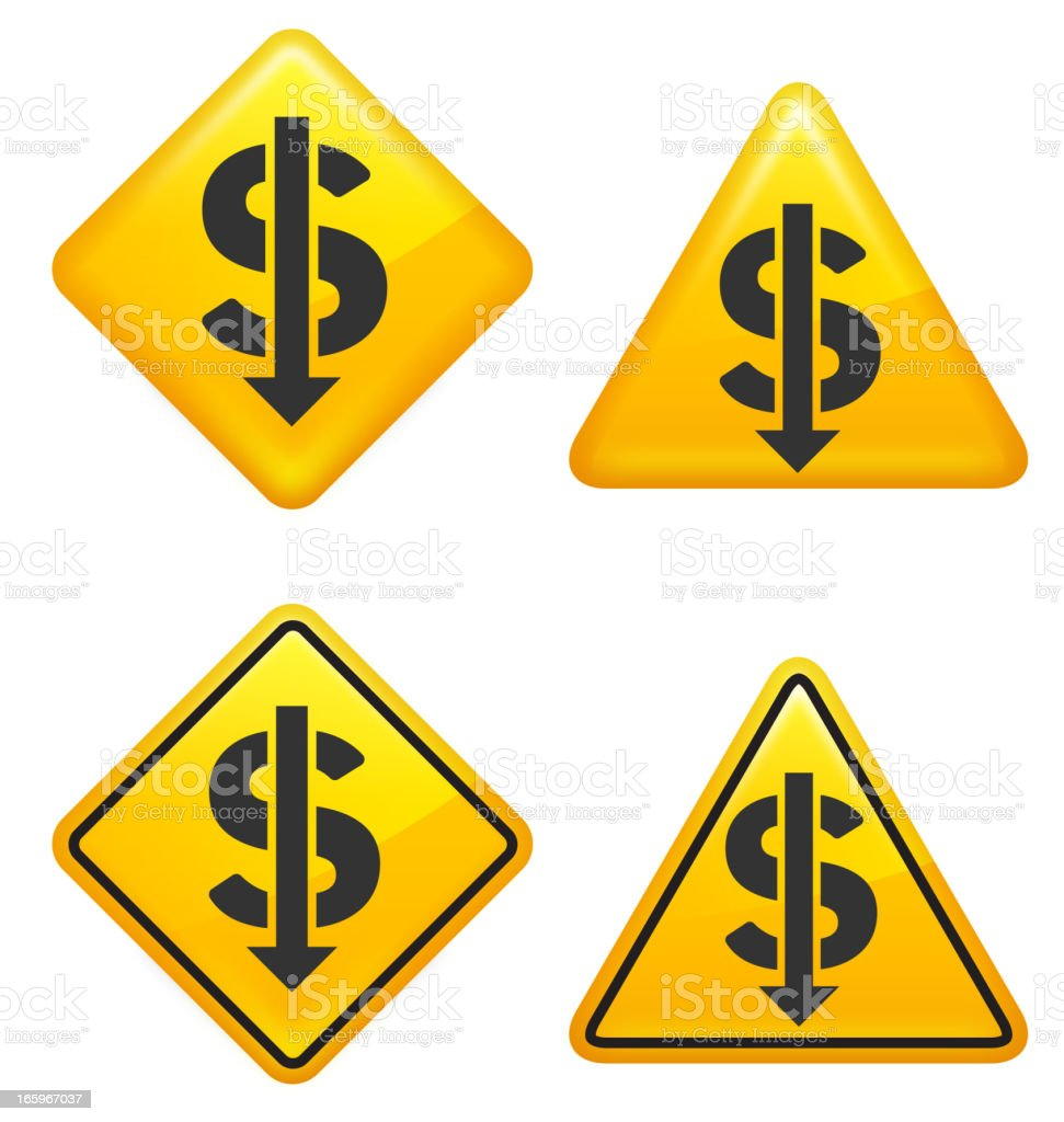 Warning and Caution Stock Market Dollar Crash Street Signs royalty-free stock vector art