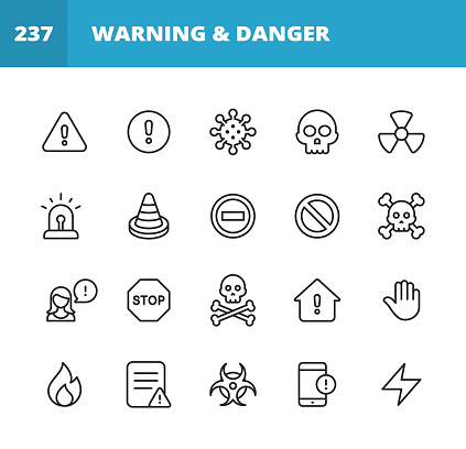 20 Warning and Danger Outline Icons. Warning Sign, Danger, Alert, Accident, Banner, Caution, Stop, Virus, Coronavirus, Cold and Flu, Scull, Email, Message, Communication, Computer Virus, Hacker, Identity Thief, Thief, Biohazard Symbol, Radioactive, Siren, Trojan Horse, Eye, Telephone, Information, Risk, Protection, Safety, Traffic, Road, Thunder, Fire, Human Hand, Error Message, Problem.