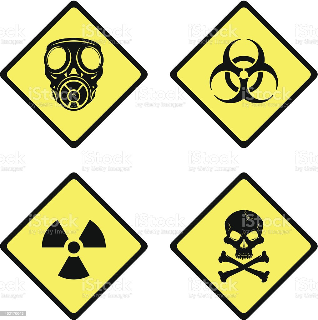 Warning and Danger Signs vector art illustration