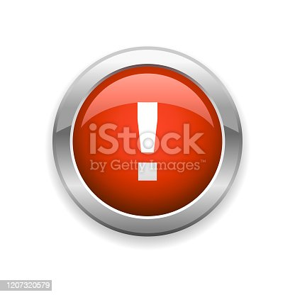 istock Warning and Exclamation Mark Glossy Icon 1207320579