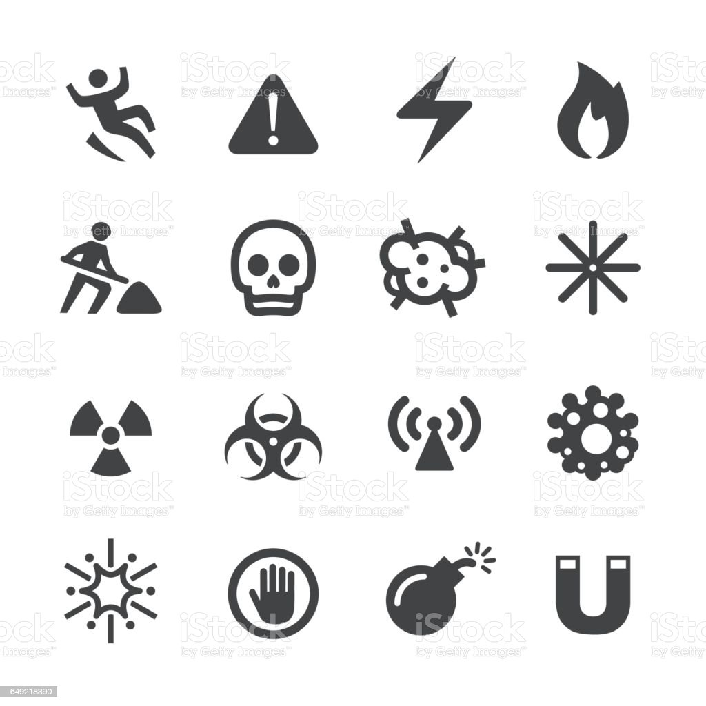 Warning and Hazard Icons - Acme Series vector art illustration