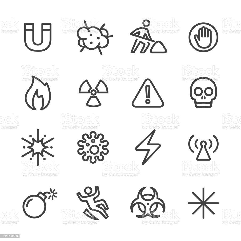 Warning and Hazard Icons - Line Series vector art illustration