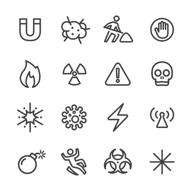 Warning and Hazard Icons - Line Series Warning, Hazard, warning sign, danger danger stock illustrations