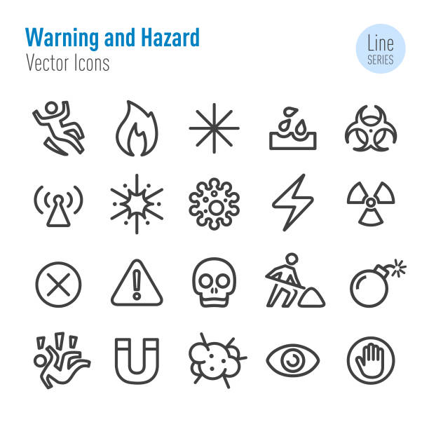 warn-und hazard-icons-vector line series - warnsymbol stock-grafiken, -clipart, -cartoons und -symbole