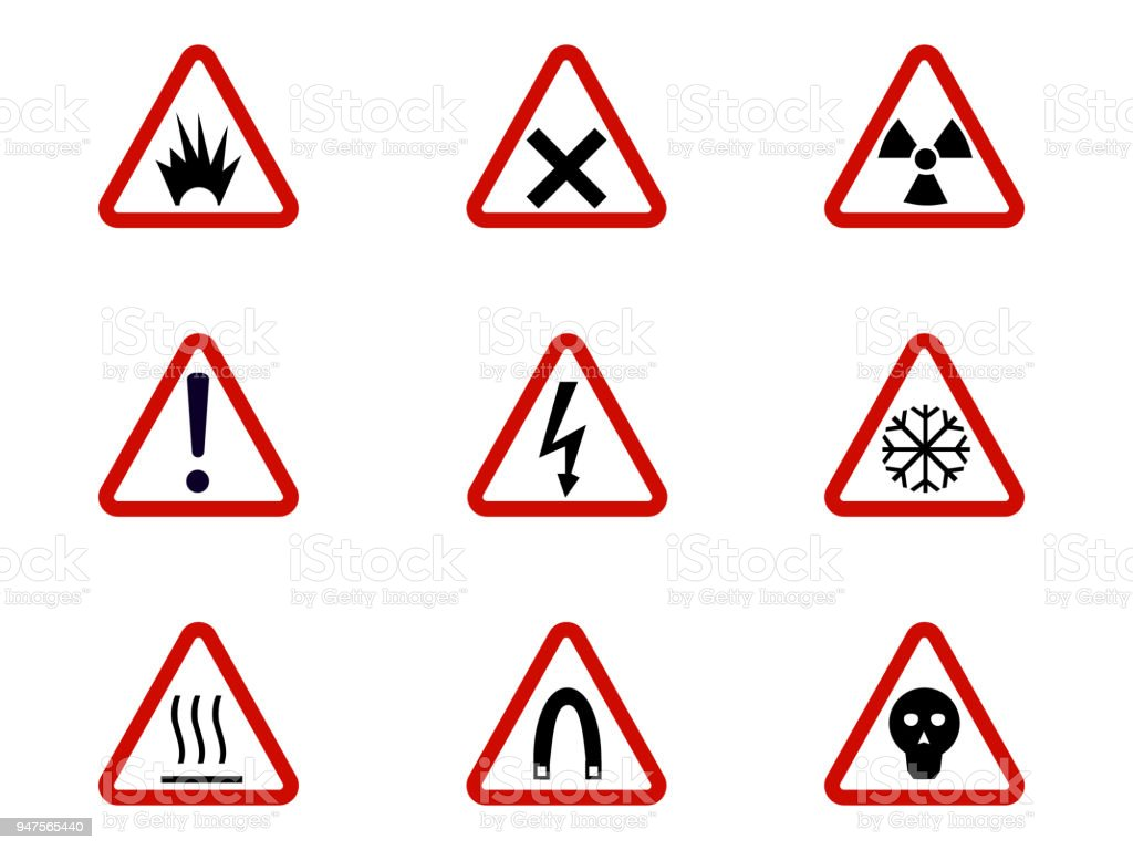 Warning And Hazard Symbols On Triangles Vector Collection Safety And