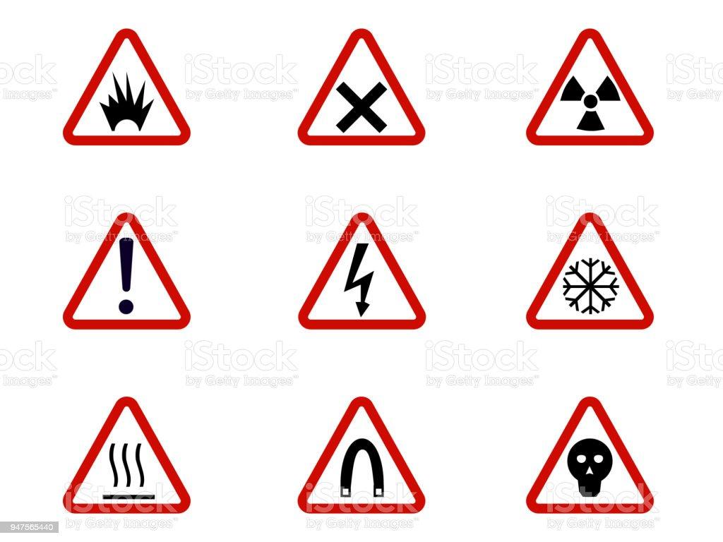 Ilustración de Símbolos De Advertencia Y Peligro En Triángulos ...