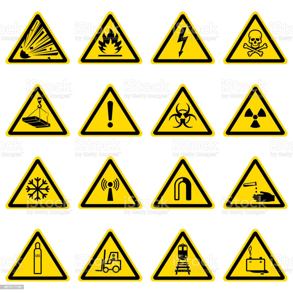Warning and hazard symbols on yellow triangles vector collection vector art illustration