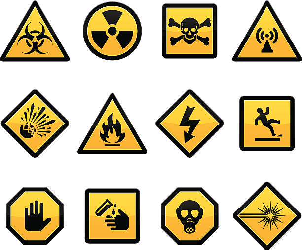 ilustrações de stock, clip art, desenhos animados e ícones de advertências e riscos - inflamável