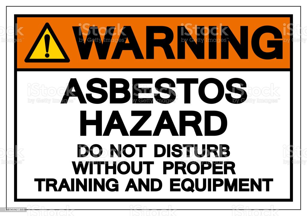 Warning Asbestos Hazard Do Not Disturb Without Proper Training And Equipment Symbol Sign, Vector Illustration, Isolated On White Background Label .EPS10 vector art illustration