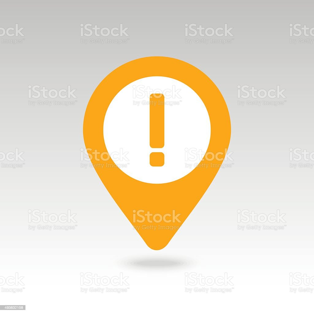 Warning attention, exclamation mark pin map icon vector art illustration