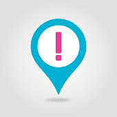 Warning attention sign. Exclamation mark pin map icon. Map pointer. Map markers. Vector illustration EPS10