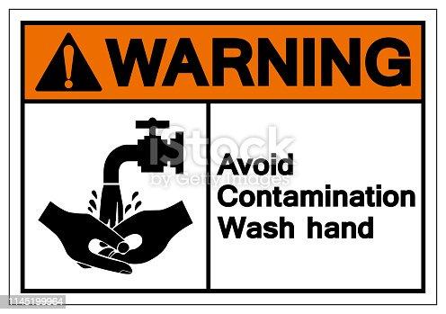 Warning Avoid Contamination Wash Hand Symbol Sign, Vector Illustration, Isolate On White Background Label. EPS10