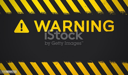 Warning danger grunge background with space for copy.