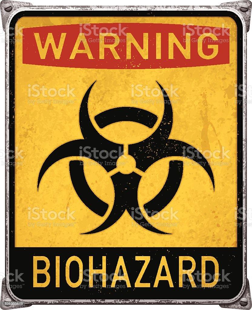Warning biohazard metal placard with biohazard symbol_vector vector art illustration