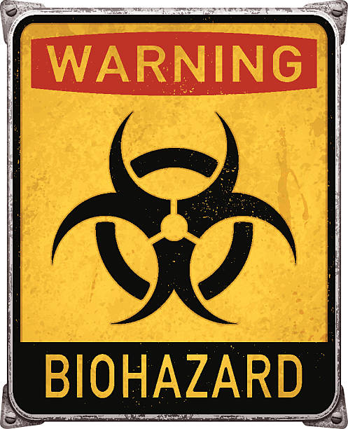 Warning biohazard metal placard with biohazard symbol_vector Yellow and red warning biohazard sign. Old and rusty vertical metal placard with biohazard text and symbol. Weathered rectangular metal banner mounted on steel frame with rusty stains, four screws and metallic corners. Yellow, red and black background with distressed text. Photorealistic vector illustration isolated on white. Layered EPS10 file with transparencies and global colors. Individual elements and textures. Related images linked below. biohazard symbol stock illustrations
