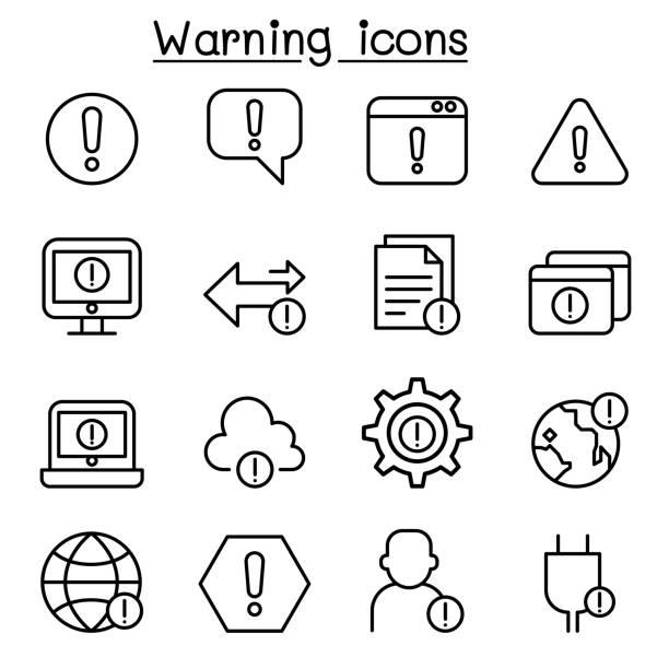 warning, caution, danger icon set in thin line style - selektywny kolor stock illustrations