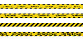 istock Warning Covid-19 quarantine tapes. Black and yellow line striped. Vector illustration 1220688827