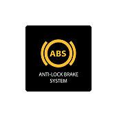 warning dashboard car icon, anti-lock brake system