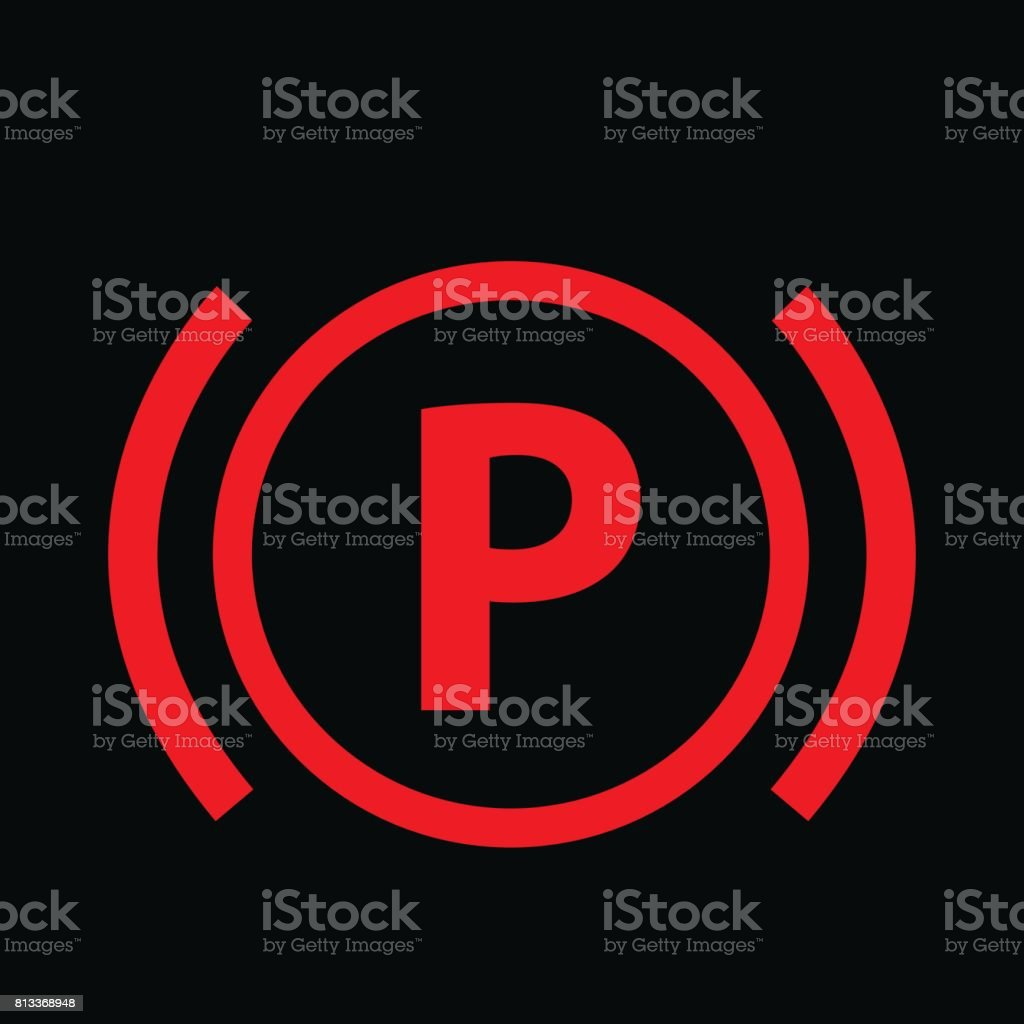 Warning Dashboard Sign Icon Car Parking Brake Signal Vector - Car sign on dashboard