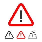 istock Warning Icon, Exclamation Point Sign in Red Triangle Flat Design. 1154054602