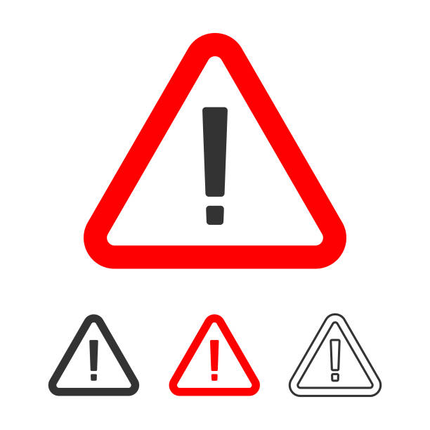 Warning Icon, Exclamation Point Sign in Red Triangle Flat Design. Vector Illustration EPS 10 File. absorption stock illustrations