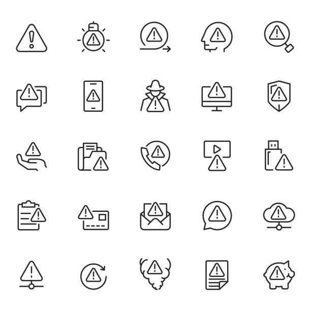 Warning icon set Warning icon set alertness stock illustrations