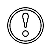 Warning icon vector sign and symbol isolated on white background, Warning logo concept