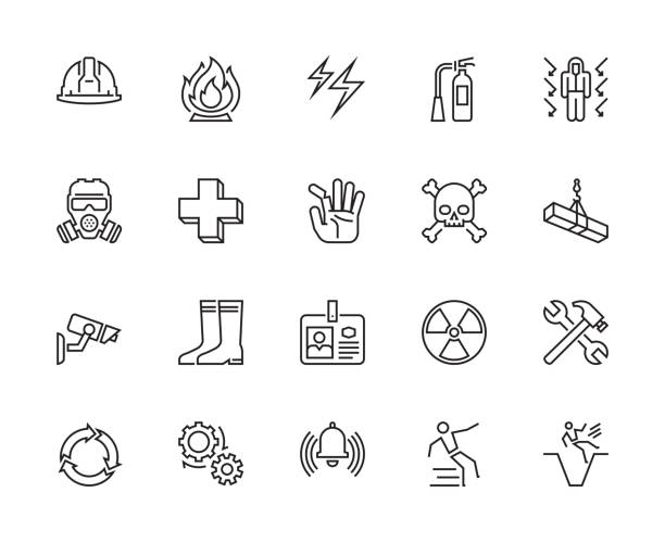 Warning icons Warning, Caution, Safety, Industry, Factory, Office, Icons, Vector & Illustration emergency equipment stock illustrations