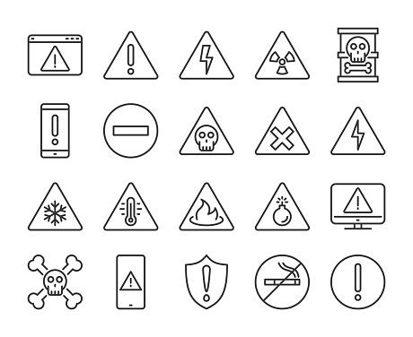 Warning icons. Warnings line icon set. Vector illustration. Editable stroke.