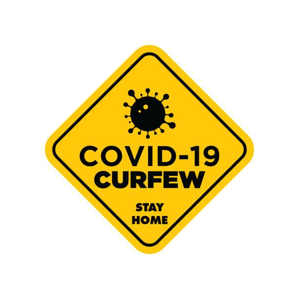 stockillustraties, clipart, cartoons en iconen met waarschuwing in een geel teken over coronavirus of covid-19 vectorillustratie - avondklok