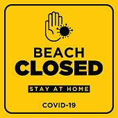 Warning in a yellow sign about coronavirus or covid-19 vector illustration