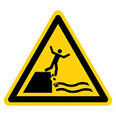 istock Warning Keep Out Unstable Cliff Symbol Sign, Vector Illustration, Isolate On White Background Label. EPS10 1268946904