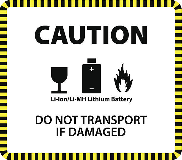 Warning Label A lithium ion or lithium metal hydride battery shipment caution label. lithium stock illustrations