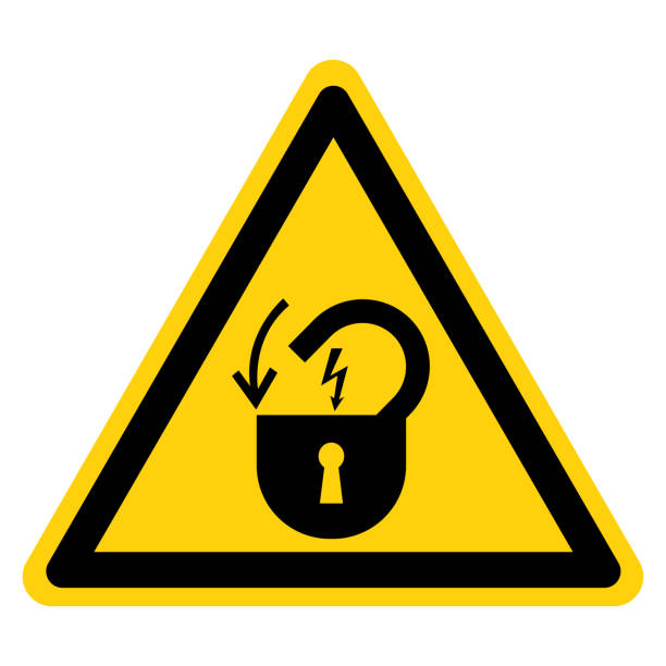 Warning Lock Out Electrical Power Symbol Sign, Vector Illustration, Isolate On White Background Label .EPS10 Warning Lock Out Electrical Power Symbol Sign, Vector Illustration, Isolate On White Background Label .EPS10 lockout stock illustrations