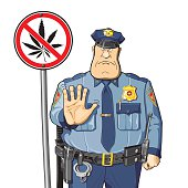 Warning policeman.   prohibition sign. cannabis.