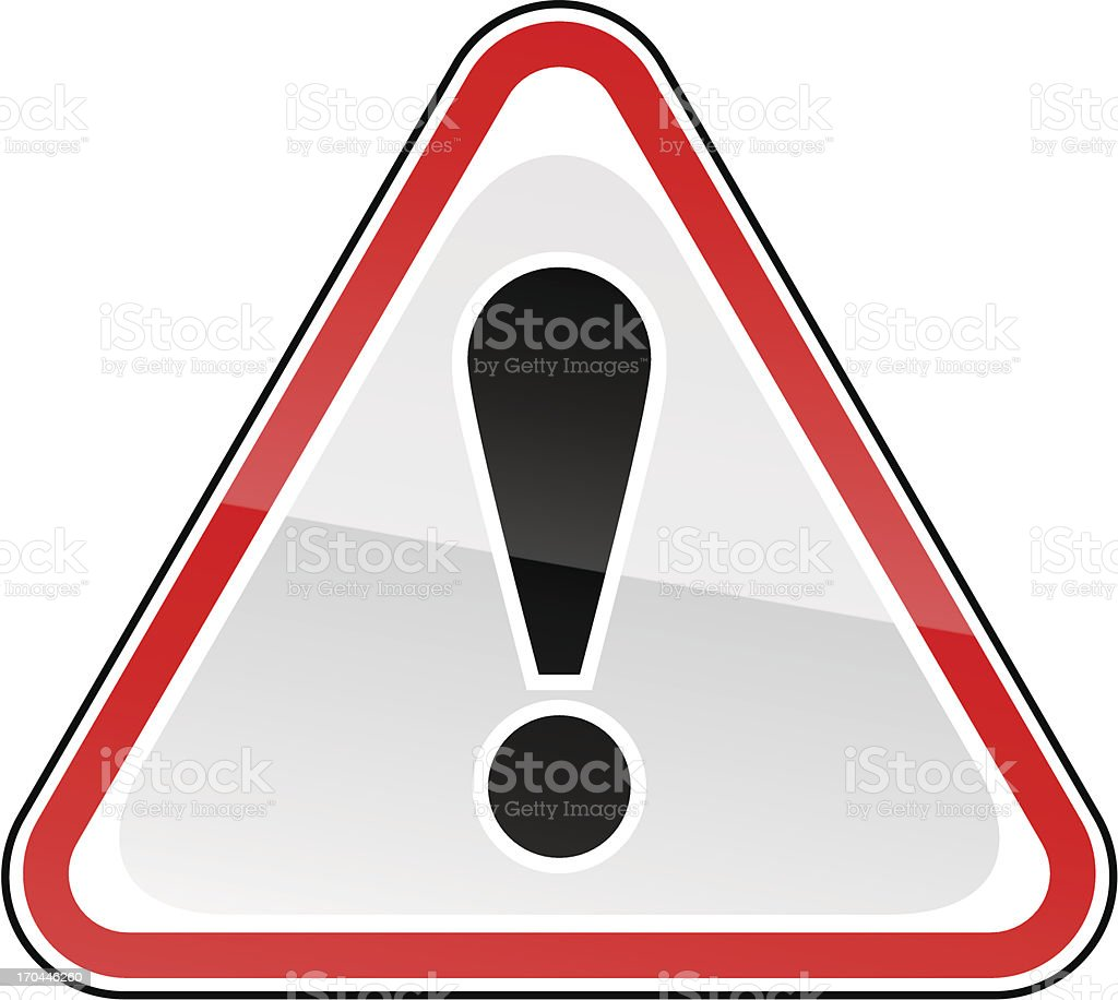 Warning red attention sign black exclamation mark pictogram triangular shape royalty-free stock vector art