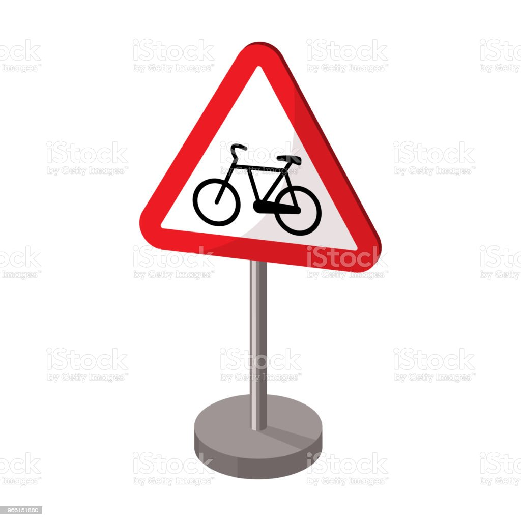 Warning road sign icon in cartoon style isolated on white background. Road signs symbol stock vector illustration. - Векторная графика Автострада роялти-фри
