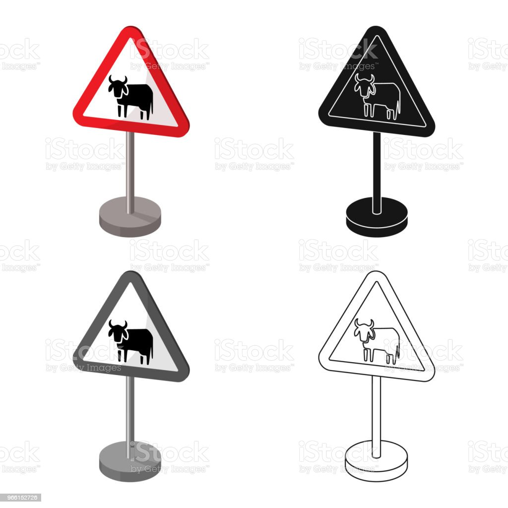 Warning road sign icon in cartoon style isolated on white background. Road signs symbol stock vector web illustration. - Royalty-free Alertness stock vector