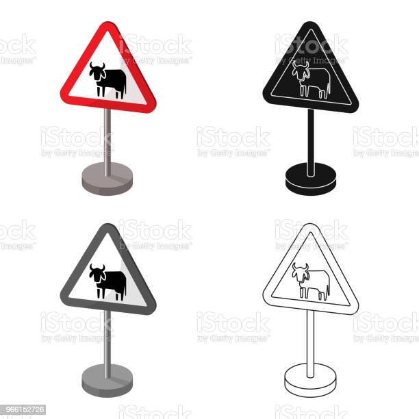 Road Sign Varningsikon I Tecknad Stil Isolerad På Vit Bakgrund Vägskyltar Symbolen Lager Vektor Web Illustration-vektorgrafik och fler bilder på Design